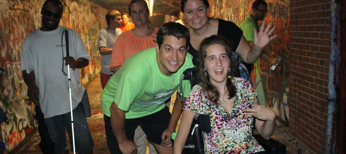 Photo of happy young people with various disabilities