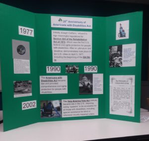 A green display shows dates, pictures and texts detailing milestones of the Disability Rights movement