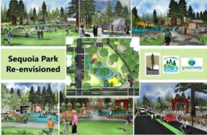 A photo-collage shows several artist representations of the Sequoia Park potential re-design.